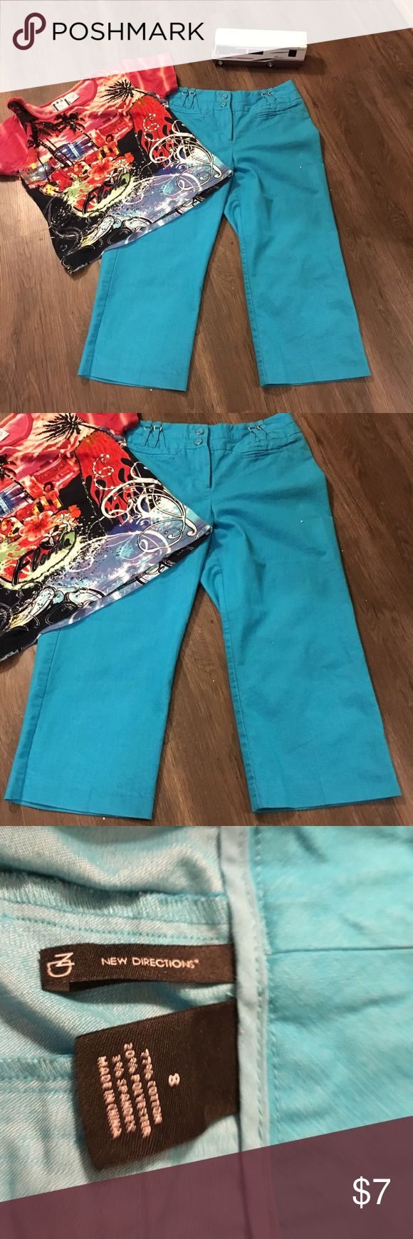 New Direction bright blue capris This is a pair of good condition capris by new Direction they are bright blue with pockets back.  They are size 8 in women's new directions Pants Capris