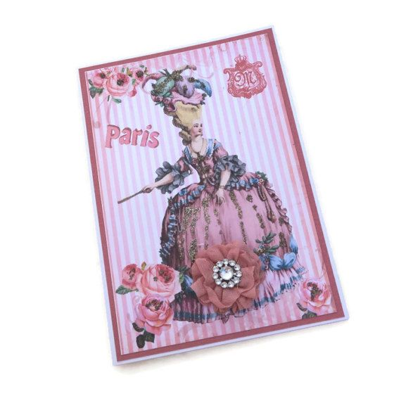 French Card Marie Antoinette Birthday by EnchantedQuilling on Etsy