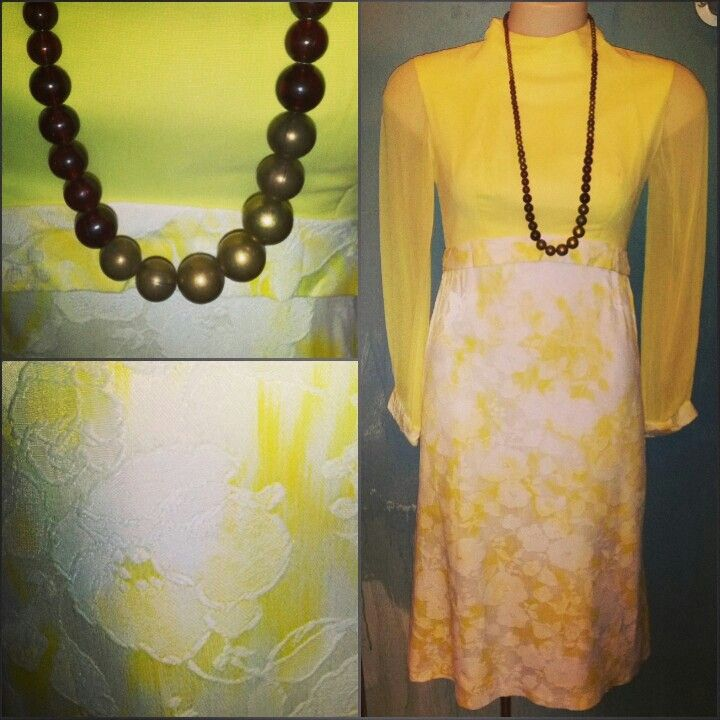 #vintage #yellow #70s #dress $60 #canary #yellow #floral #tapestry #fabric & #dome #bead #necklace $40 #sunny #lemon #sorbet #sun