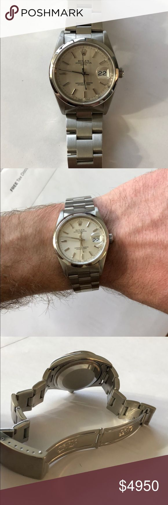 Rolex Date 15200 Silver Rolex Date, model 15200, 34mm. Recently purchased online through a used watch verification site, but I don't like the size for my wrist personally.   Excellent condition, no scratches/scuffs/dings. Automatic watch running great.   Happy to answer any questions. Rolex Accessories Watches #Rolexwatchesused