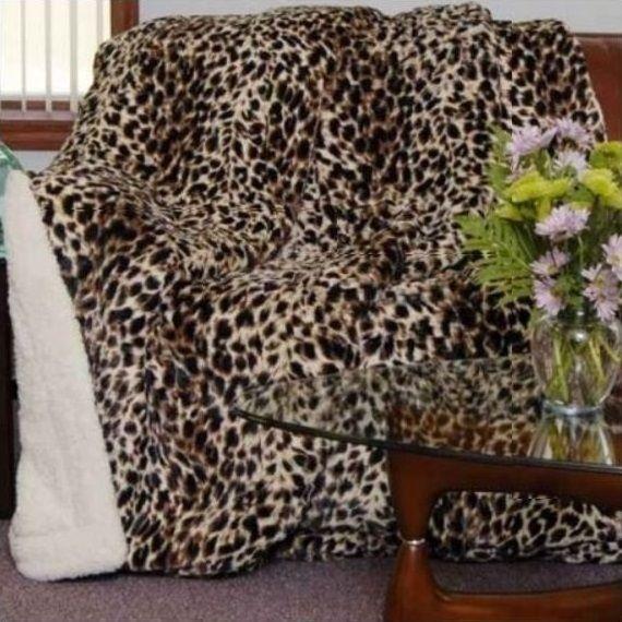 Safari Cheetah Faux-Fur Luxury Filled Sherpa Blanket | DUKDPVF1005