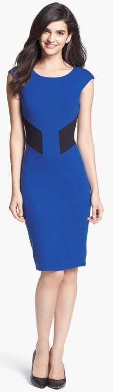 Sheath blue dress
