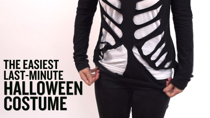 You know what's scary? Waiting until the last minute to plan your Halloween costume. To make things a little less frightful, we'll show you how to make a super-simple skeleton outfit in minutes using something you probably have in your closet already.