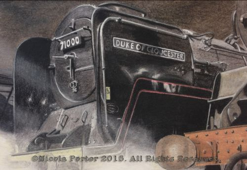 """Duke of Gloucester 71000"" Drawing -  A4 print £20 -  BR standard class 8 steam locomotive. Designed by Robert Riddles and built in 1954  Pictured here on The East Lancashire Railway  Please note that you are buying a Limited Edition print of my drawing, not the original  Prints will be signed, numbered and professionally mounted."