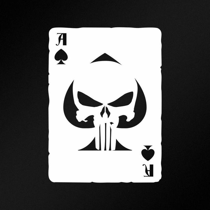 Ace Of Spades Carta Punisher Calavera Pegatina Vinilo Adhesivo Moto Coche