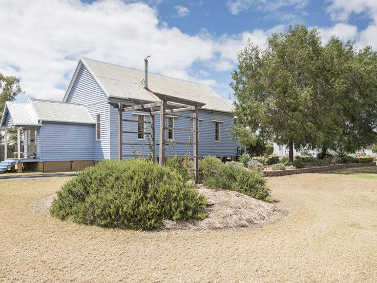 For Sale: Character filled church converted into a home with Large Shed on Acre See more:   #Queensland #Jondaryan #ForSale #FarmProperty #RealEstate