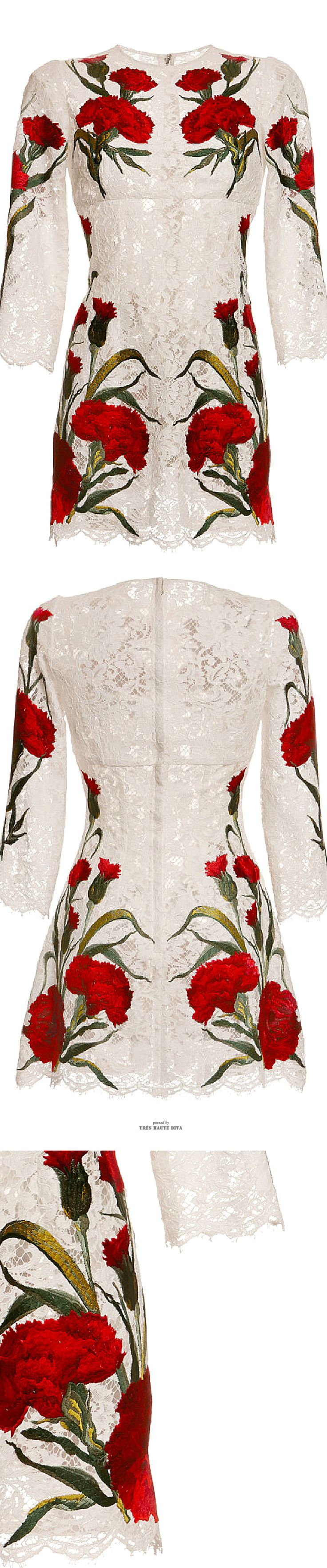 Dolce & Gabbana White Lace Dress With Embroidered Carnations SS 2015