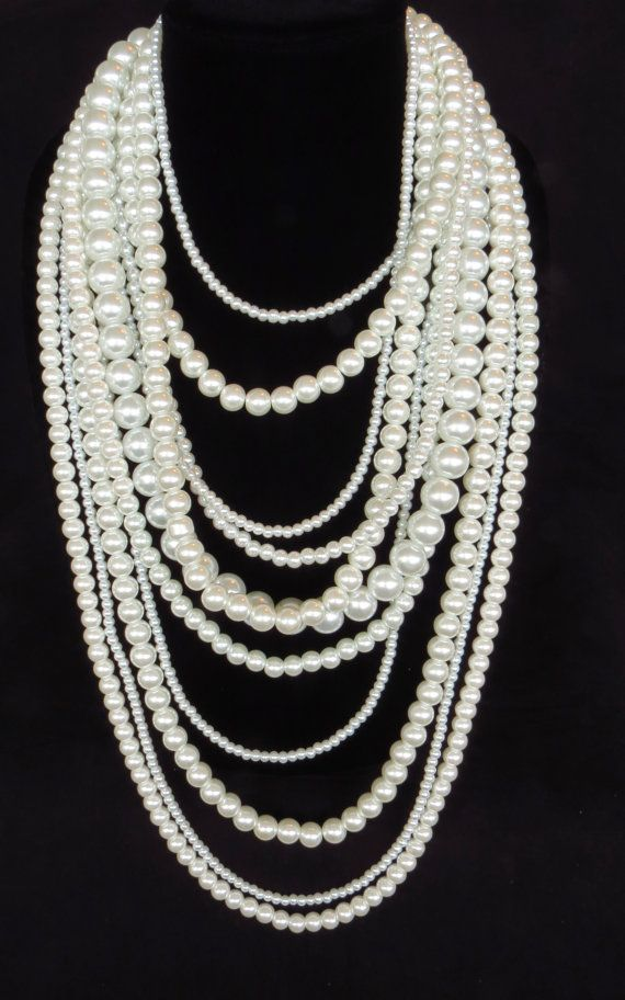 Long Multi Strand Pearl Statement Necklace - A Night at the Opera - Coco Chanel Pearl Necklace - White Pearl Necklace - Layer Pearl Necklace...