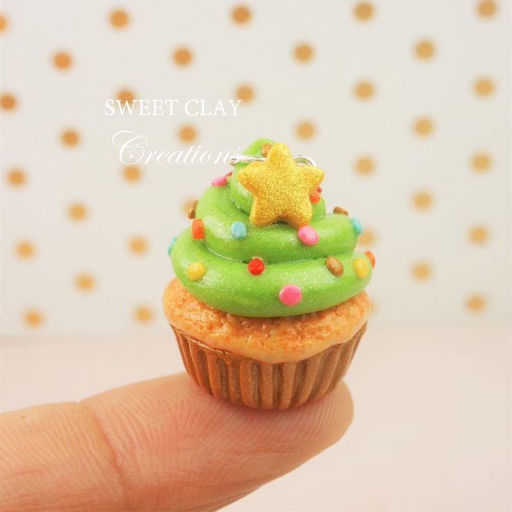Christmas Tree Cupcake Charm Miniature Food Polymer Clay Handmade Jewelry by Sweet Clay Creations