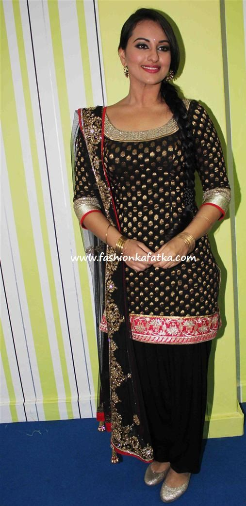 """""""Fabric: Brocade, viscose georgette  Work: Resham Embroidery & Lace.  Color: Black and Golden"""