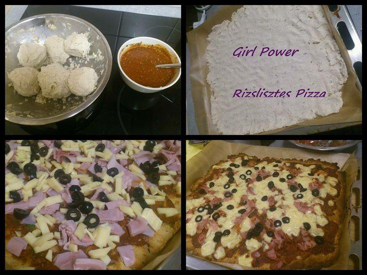 Rizslisztes (gluténmentes) pizza  Tökéletes házibulira vagy épp az esti filmnézéshez!    HOZZÁVALÓK (1 tepsihez)  Tésztához: -1/2 kg rizsliszt, -kaukázusi kefír, - olíva olaj -só,   Szószhoz: -paradicsompüré, -fokhagyma, -bazsalikom levelek, -só, bors, citromlé, egy kis édesítő.  Feltétnek: sonka, sajt, olíva bogyó  https://www.facebook.com/photo.php?fbid=512775875473920&set=pb.470851386333036.-2207520000.1386272598.&type=3&theater