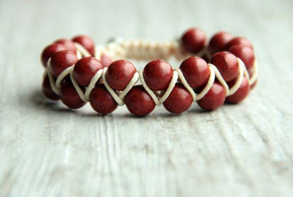 Shamballa double bracelet Dark red Bracelet by AllAboutHandmade1