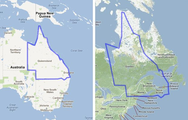 Queensland compared to Quebec. | 17 Maps Of Australia That Will Make Your Mind Boggle