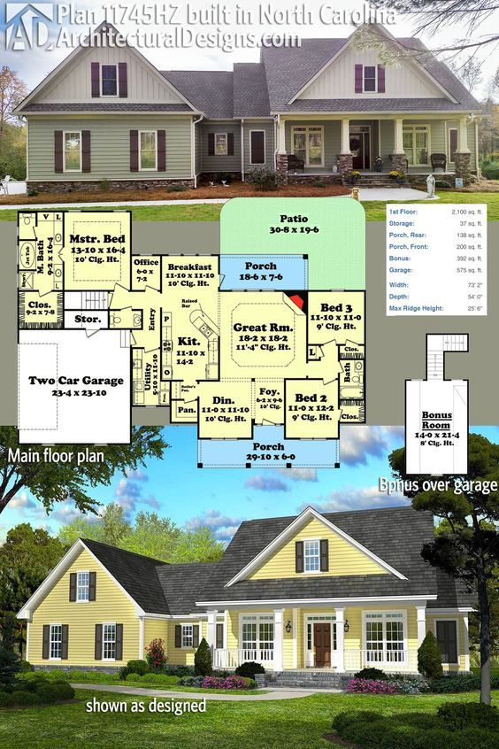 Architectural Designs House Plan 11745HZ was built with a modified exterior  by our client in North
