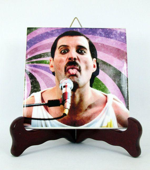 Freddie Mercury Queen Ceramic Tile / Magnet  by TerryTiles2014