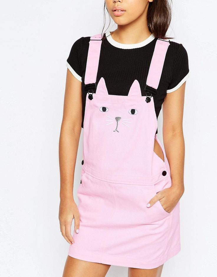 Lazy Oaf Pinafore Dungaree Dress With Cat Face