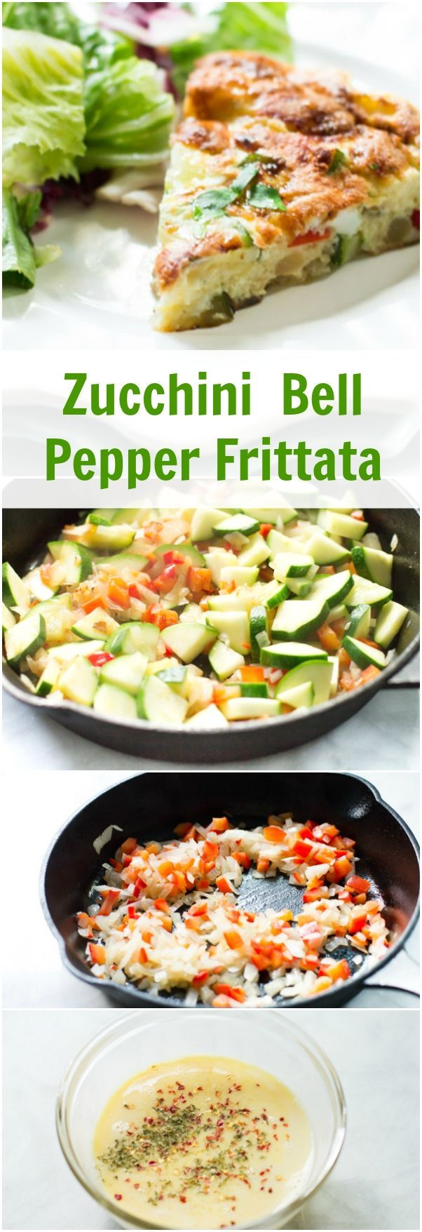 Zucchini Red Bell Pepper Frittata - This easy and quick meatless frittata combines eggs with zucchini, red bell pepper and onion to make a delicious dish for a healthy lunch option.