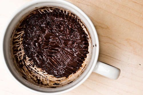 Brownie in a mug...   Ingredients:  4 Tablespoons Flour  4 Tablespoons Sugar  2 Tablespoons Cocoa powder (Note: don't use cocoa mix or quik, it shouldn't have any sugar)  2 Tablepsoons Vegetable Oil (Don't use one with a strong flavor, eg olive, sesame, etc)  2 Tablespoons Water  Dash of salt  Mug  Microwave
