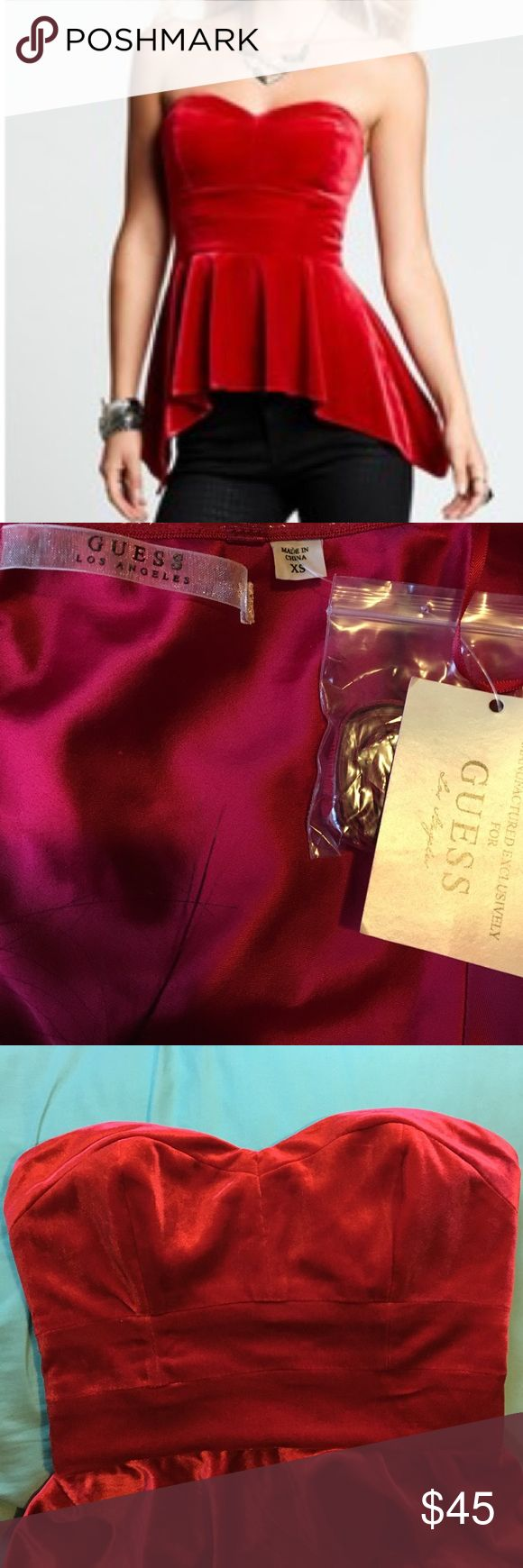Red velvet peplum shirt NEW with tags Guess extra small red velvet peplum shirt care label cut Guess Tops Blouses