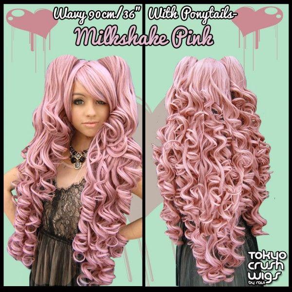 "90cm/36"" Wavy with Ponytails- Milkshake Pink"