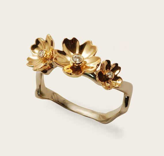 Sakura 18K Gold Ring | 12 Alternative Engagement Rings Under $1000 on The Etsy Blog.
