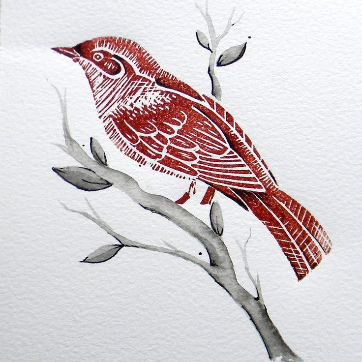 Little Nightingale original lino cut print, by Amanda Colville, ManglePrints