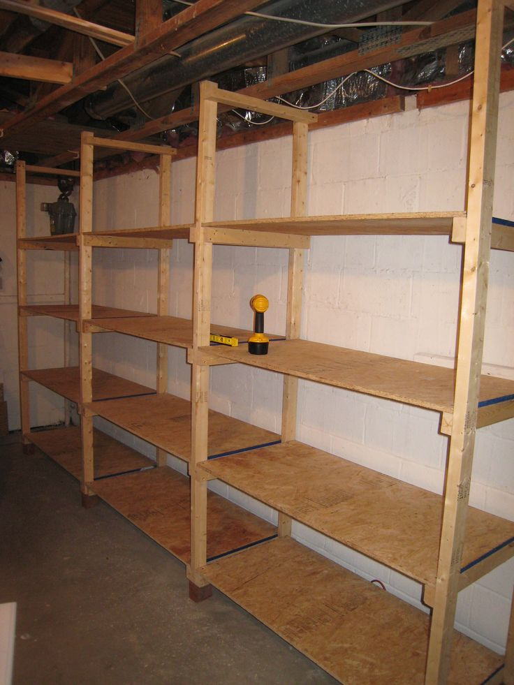 how to build inexpensive basement storage shelves diy. Black Bedroom Furniture Sets. Home Design Ideas