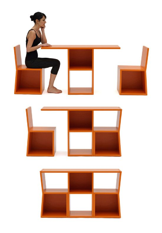 In small rooms of apartments, a bookcase can become a hindrance in decorating, fighting for space with other furniture. On the other hand, whenever it is possible to combine the functionality of two objects...Trick is a bookcase , but it is also a table with two chairs . When the two pieces are removed from the ends to the center, they become chairs. The middle piece gives rise to a table, which can be used for dining or as a workstation.