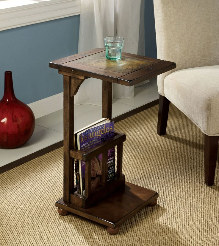 Wilcox Distressed Antique Style Walnut Finish Wood Chair Side End Table With Magazine Rack