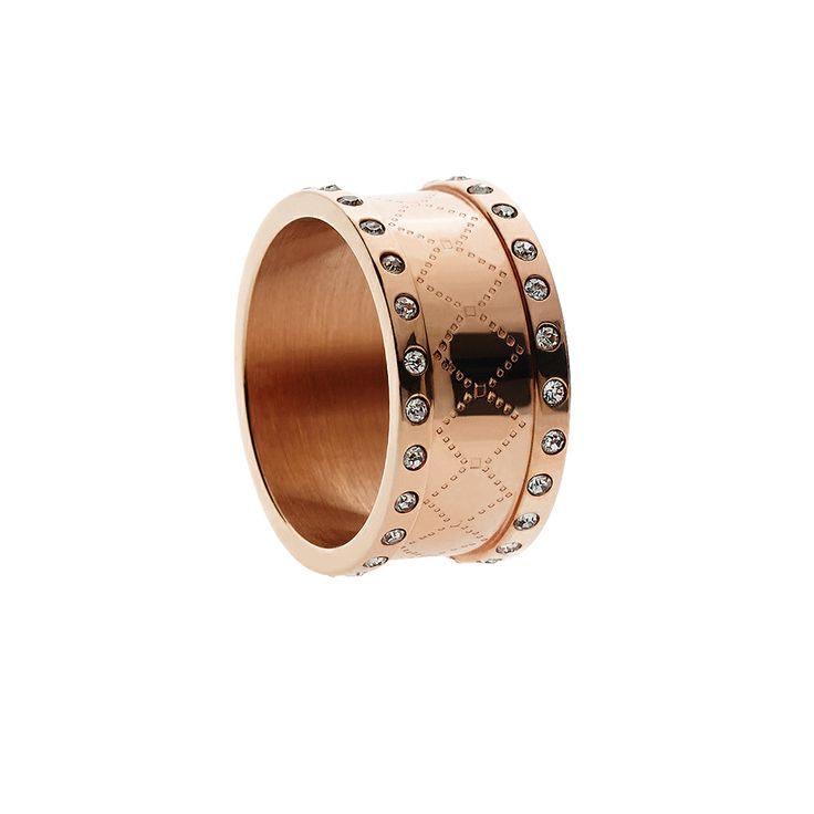 Oxettissimo Ring - Available here http://www.oxette.gr/kosmimata/daktulidia/s.steel-ros-gold-plated-ring-2-rows-crystal-oxette669l-1/     #oxette #OXETTEring #jewellery