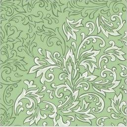 Delia Green - luxusné svadobné servítky z netkanej textílie, ornament, zelená rozmer 40x40