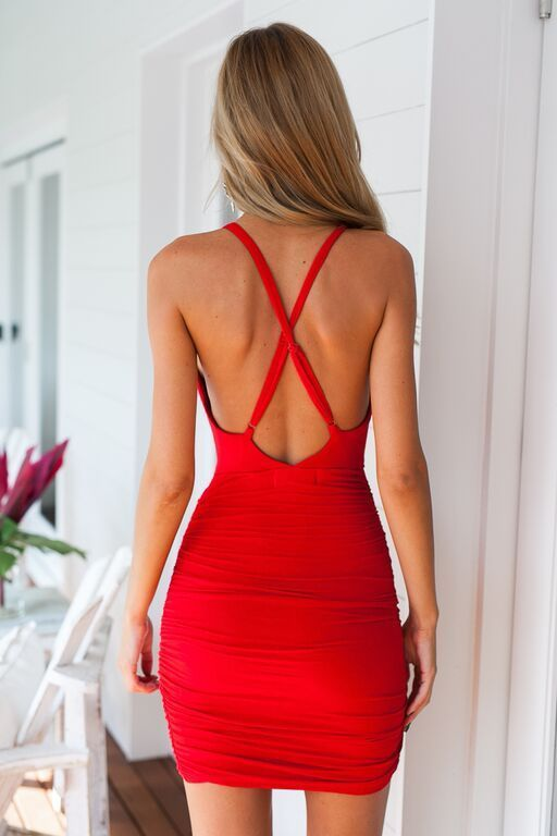 thumbnail - Red Deep V Front Bodycon Wrap Dress  9a96ace01