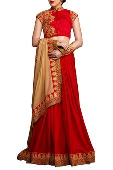 Red Georgette Embroidered Saree by Stylee Lifestyle, Saree with Blouse Piece #saree #indianwear #ethnicwear #traditional #indianoutfit #fashion #indianfashion #sareewithblouses #ootd #potd #colorful #pretty #beautiful #glitstreet