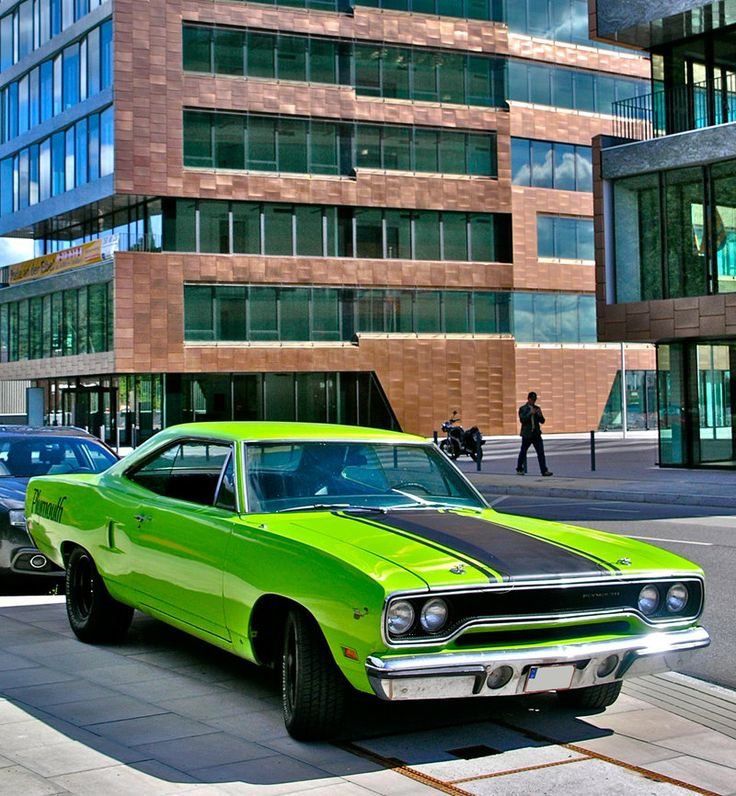 Find more US-Cars and Muscles here : [link] Hamburg Docklands , Germany Coloured Plymouth Muscle Cars, Dodge Muscle Cars, Cool Muscle Cars, Ford Mustang, Mustang Cars, American Classic Cars, American Muscle Cars, Triumph Motorcycles, Vintage Motorcycles