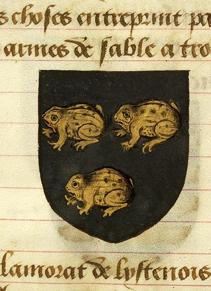 Escutcheon decorated with heraldry of Pharamon (sable, three toads or) | Noms, armes et blasons des chevaliers de la Table Ronde | France | ca. 1500 | The Morgan Library & Museum