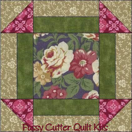 Burgundy Cream Purple Roses Floral Fabric Easy Pre-Cut Quilt Blocks Top Squares Kit