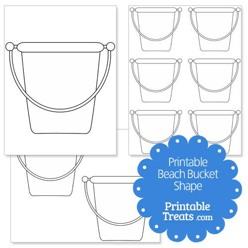 sand bucket template - printable beach bucket shape template craft ideas