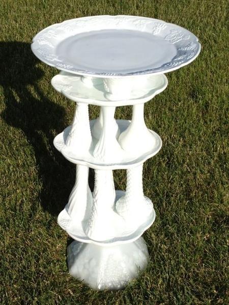 glass yard art images | Garden art: Birdbaths made out of glass dishes | News-Gazette.com