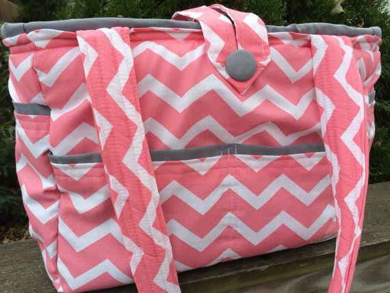 Large Bag- Diaper Bag- Work Bag- School Bag- Travel Bag, Coral chevron grey interior