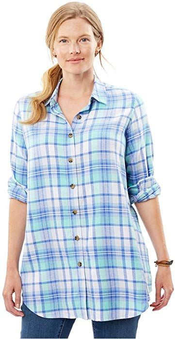 f2a65710567 Woman Within Plus Size Classic Flannel Shirt - Midnight Plum Plaid ...