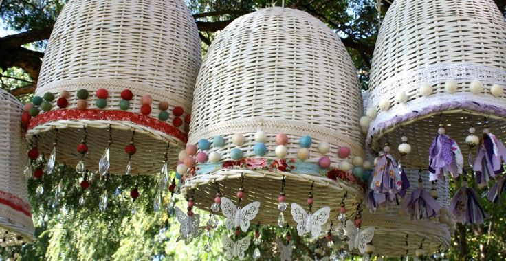 Lamparas de techo de mimbre 40 x50 Pantallas Decoradas Lamparas De
