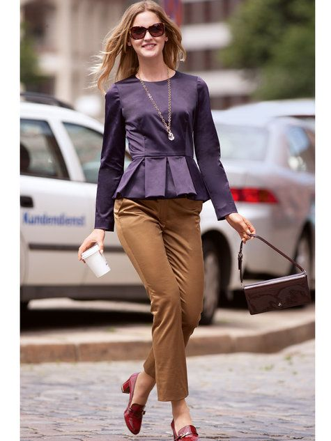 You may be more comfortable in trousers and low heels like these.