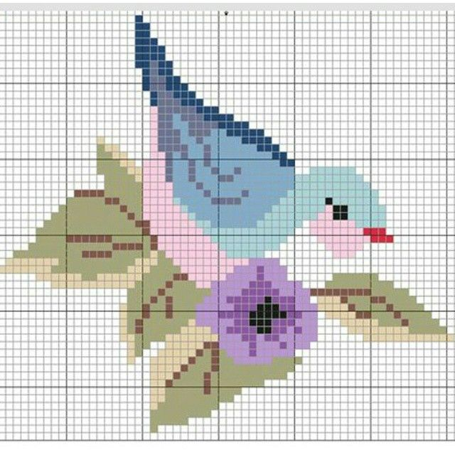 Bluebird cross stitch. Bird cross stitch.