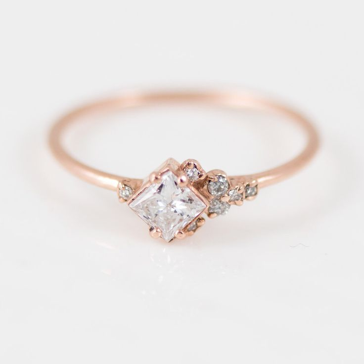 Princess Cut White Diamond Ring: Asymmetrical Diamond Mini Cluster Ring in 14k Gold // Rose Gold Diamond Engagement Ring by MelanieCaseyJewelry on Etsy https://www.etsy.com/ca/listing/477535335/princess-cut-white-diamond-ring