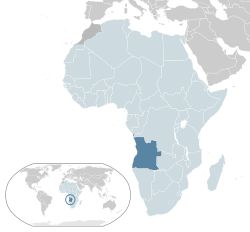 Location of  Angola  (dark blue)in the African…