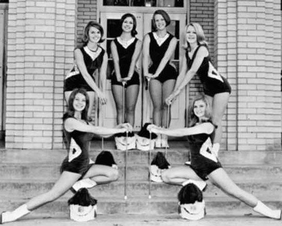 Grove High School ~ 1968 ~ Majorettes and Drum Major