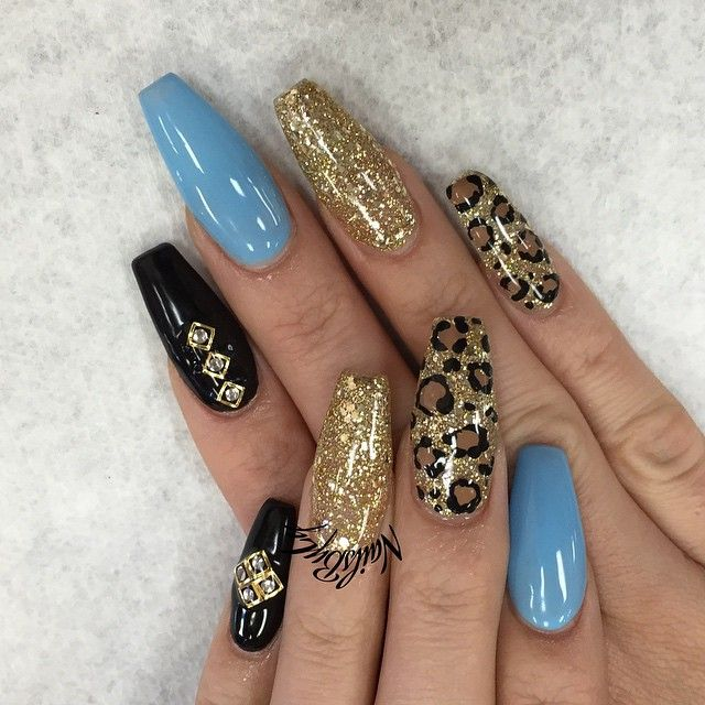 Blue black and gold Coffin nails with cheetah design