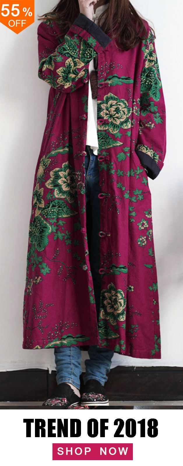 55% off&Free shipping. Plus Size Vintage Floral Print Frog Button Long Trench Co... 17