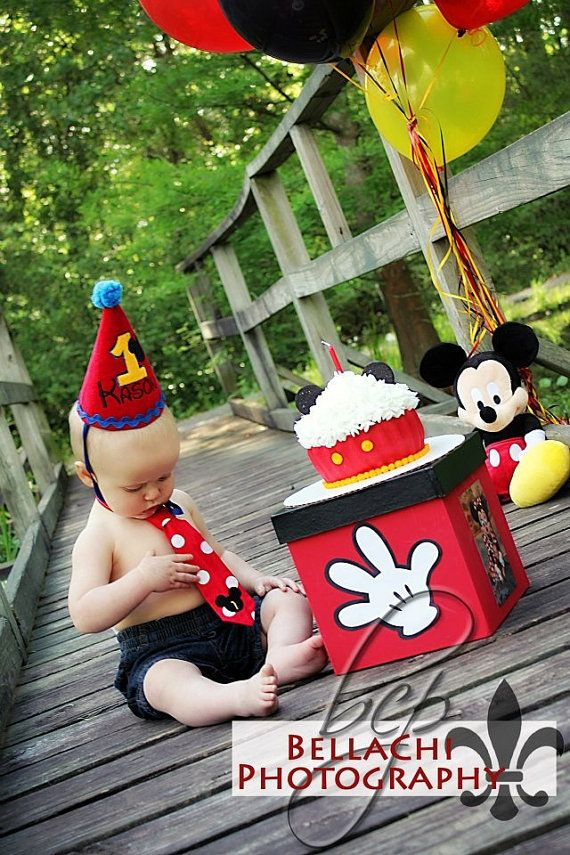 Mickey Mouse 1st Birthday Party Hat and Tie, personalized for your little one. Made of fabric, not paper