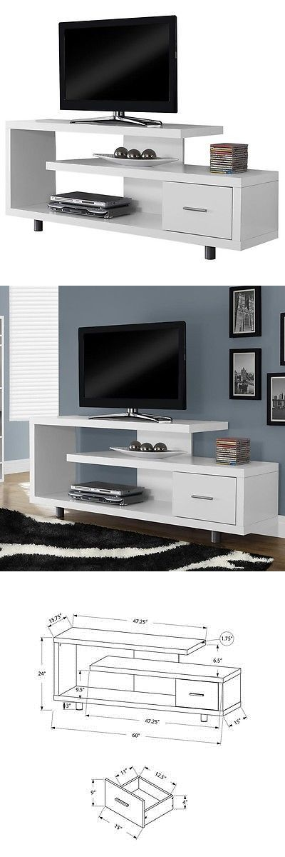 Entertainment Units TV Stands: Monarch Specialties I-2573 60-Inch Tv Stand With 1 Storage Drawer In White New -> BUY IT NOW ONLY: $160.19 on eBay!